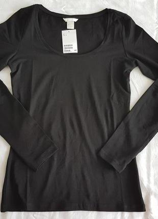 Базовый, натуральный реглан, блуза, черного цвета, h&m, р. s