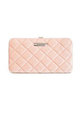 Guess оригинал кошелек портмоне велюровый бархатный розовый стеганый из сша