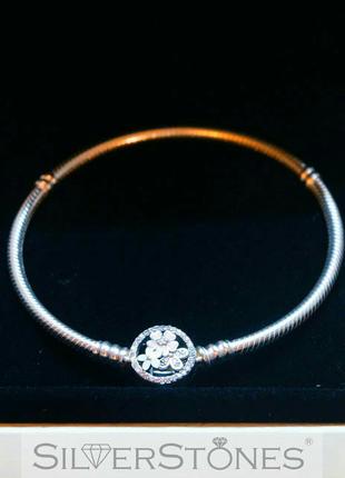 """Pandora/пандора браслет основа """"цветы"""" арт. 590744cz оригинал"""