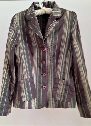 Женский легкий пиджак в полоску, жакет короткий на весну лето деловой