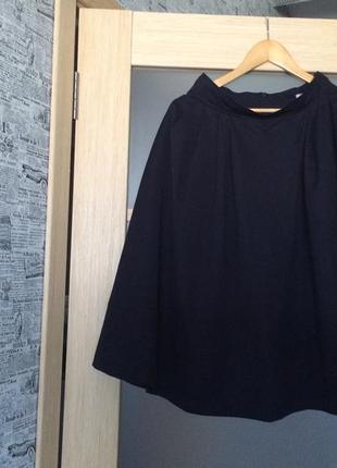 Только до 20.12! темно - синяя расклешенная миди - юбка (бесплатная доставка)