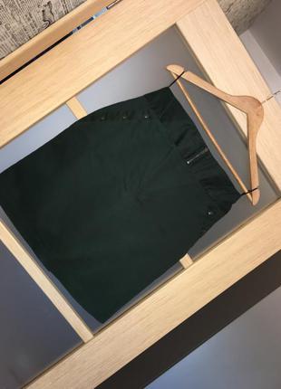 Темно - зелёная изумрудная бутылочная узкая юбка (бесплатная доставка)