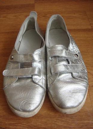Кеды мокасины кожа серебро 41 размер мужские