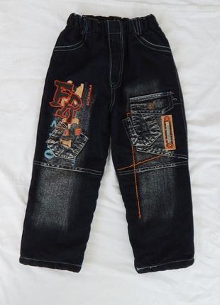 Джинсы на флисе, 5-6 лет, утепленные джинсовые брюки, штаны на меху