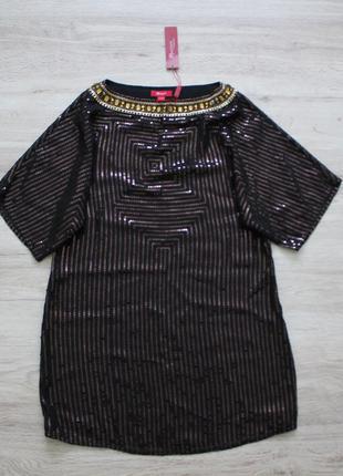 Великолепная шелковая блузка в пайетки monsoon