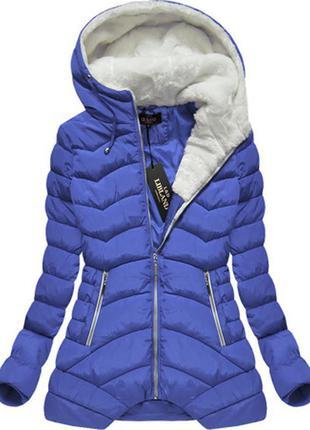Цена до 25.08 l&d классная тёплая куртка р.46/48 с капюшоном, белый мех, отличное качество
