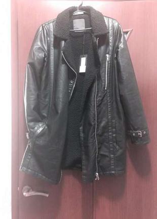 Куртка- пальто на легкой овчине