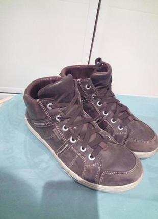 Кожаные кеды-ботинки
