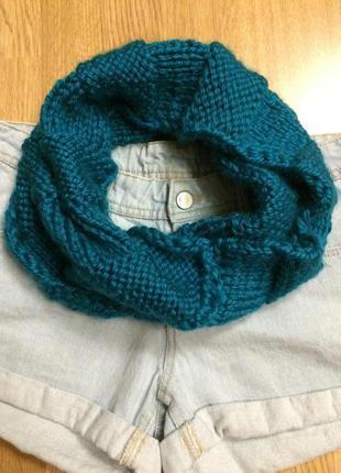 Теплый фирменный шарф-хомут h&m,теплый вязаный шарфик+подарок