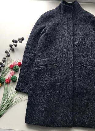 Тёплое серое шерстяное пальто прямого покроя /воротник стойка буклированое пальто