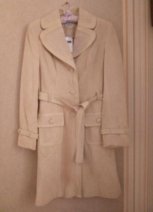 Шикарное кремовое пальто, плащ кожаный next