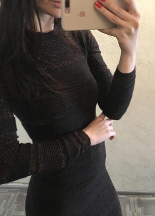 Черно коричневое платье с блестящей нитью люрексом atmosphere