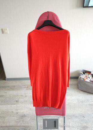 Красное платье туника вязаная трикотаж