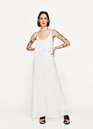 Белое платье макси сарафан zara