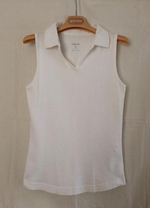 Белая футболка с воротничком atlantik