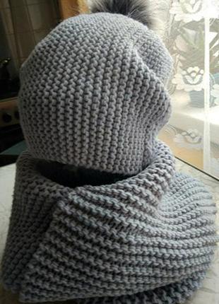 Шапка бини женская вязаная 100% кашемир ручная работа зима