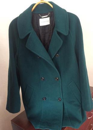 Крутое актуальное бойфренд пальто h&m windsmoor оверсайз кашемировое изумрудного цвета