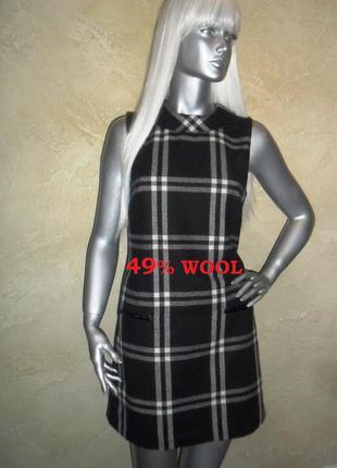 Актуальный теплый шерстяной черный в клетку сарафан платье next m-l 12