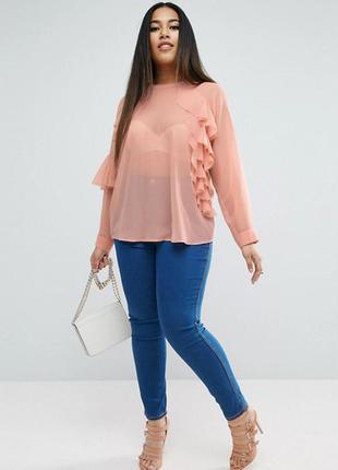 Шифоновая блуза с оборками asos, р-р 26