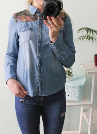Джинсовая рубашка с вышивкой newlook