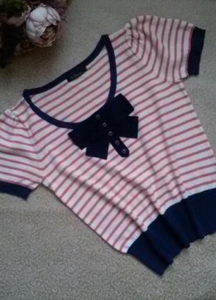 Кофта кофточка джемпер свитерок с коротким рукавом фонариком в полоску kira plastinina