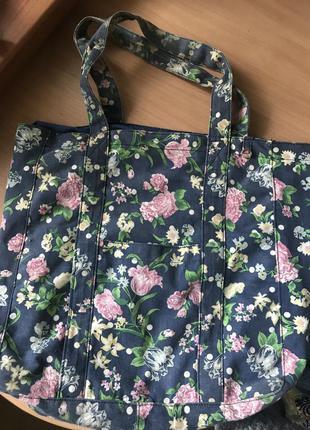 Сумка шоппер пляжная цветочный принт текстиль