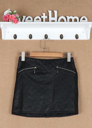 Классная юбка из экокожи трапеция zara размер м