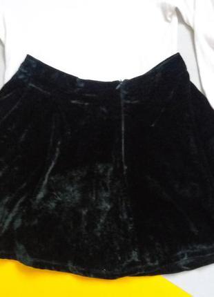 Велюровая юбка мини полусолнце клеш