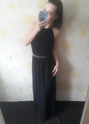 Просто нереально шикарное вечернее платье в пол с разрезом и красивой спинкой