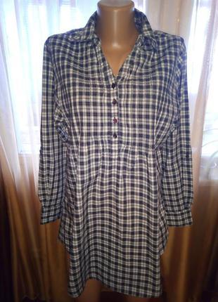Фланелевая рубашка-блуза в клетку, размер l