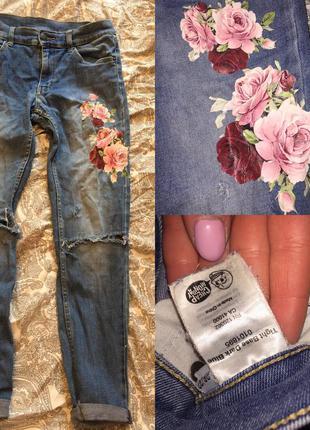 Джинсы cheap monday с принтом вышивка цветы
