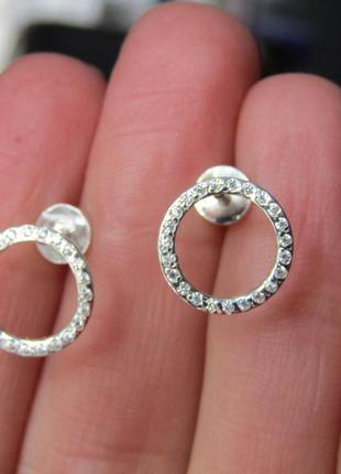 Серебряные серьги гвоздики круг с камнями