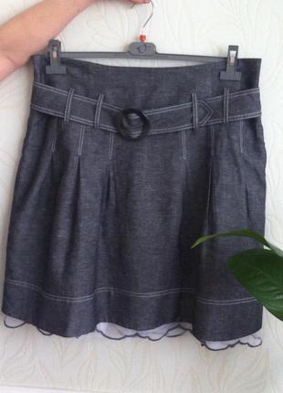 Серая юбка из коттона