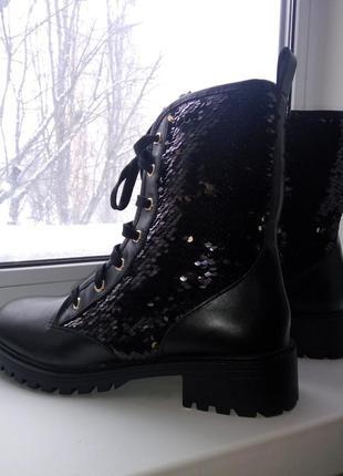 Ботинки с пайетками zara