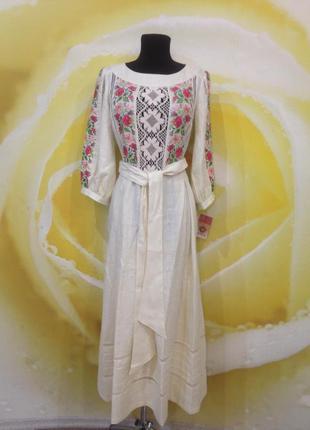 Платье с вышивкой и кружевами в национальном стиле. бесплатная доставка!!!