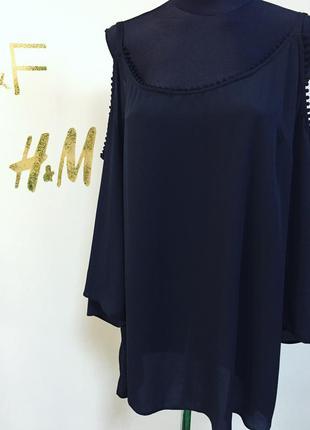 Стильная шифоновая блуза на бретелях и спущенными рукавчиками #565