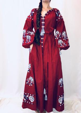 Крутое длинное платье в пол вышиванка бохо вита кин/сучасна вишиванка размер м,л