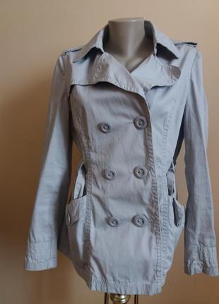 Серое тонкое пальто косуха  тренч 14р authentic denim -5%