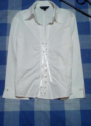 Актуальная белая блуза, рубашка, офис  atmosphere