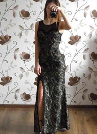 Выпускное платье макси кружевное гипюр в пол сукня вечернее платье с разрезом miusol