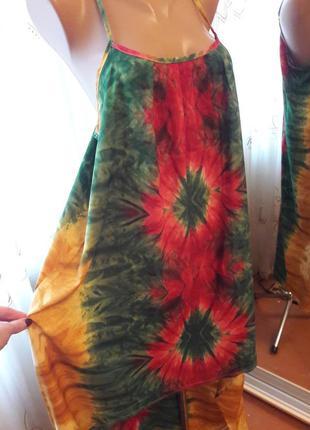 Ассимметричный сарафан акварельной расцветки