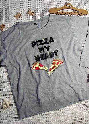Актуальный серый свитшот шведского бренда h&m с принтом «пицца мое сердце» 🎀 🌷