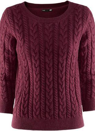 Вязанный  джемпер свитер винного цвета