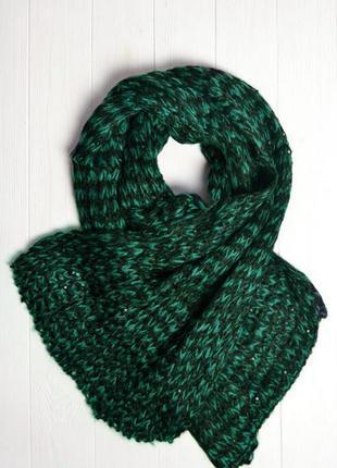 Изумрудный шарф с черными блесточками,эффект снега