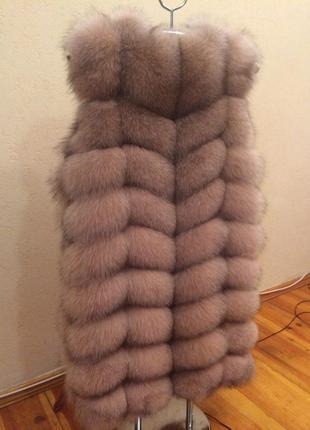 Сезонная распродажа!!! роскошный жилет из меха песца 90 см пудра