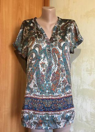 Комбинированная блуза,атлас+трикотаж!