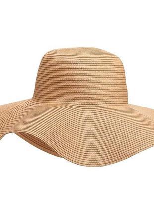 """Трэндовая бежевая/нюдовая мягкая """"соломенная"""" шляпа с широкими полями accessorize"""