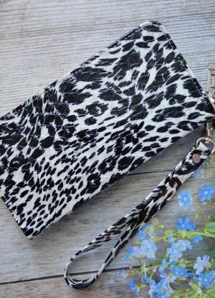 Женский кошелек натуральная кожа леопардовый принт