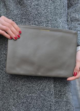 Стильный кожаный клатч moss copengahen дания натуральная кожа # zara #h&m #& other stories