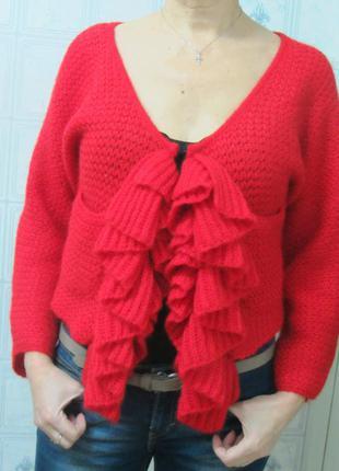 Кофта кофточка свитер кардиган размер м красный цвет мохер betty jackson